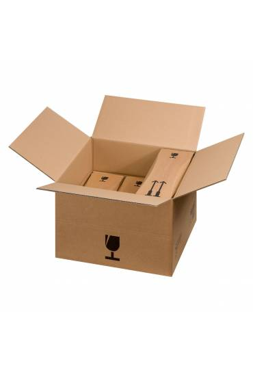 Caja cartón envio 6 botellas 75 cl