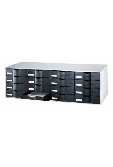 Organizador clasificador gris 16 cajones negros