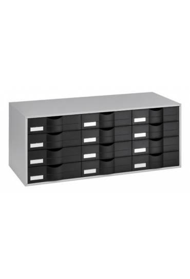 Organizador clasificador gris 12 cajones negros