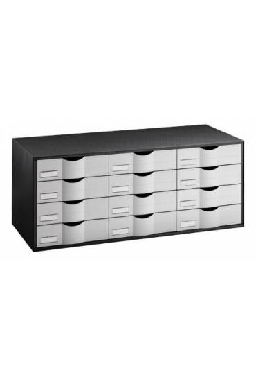 Organizador clasificador  negro 12 cajones gris