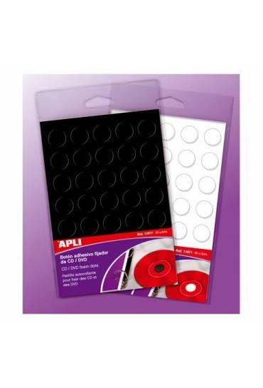 Boton adhesivo fijador CD y DVD Apli blanco