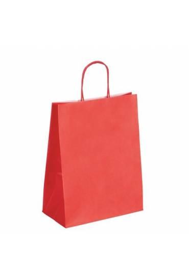 50 Bolsas papel asas trenzadas rojo 30x23x12 cm