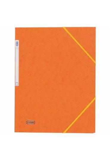 Carpeta carton A4 gomas 3 solapas naranja Elba
