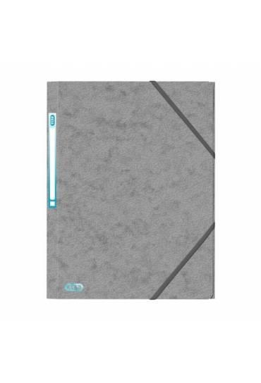 Carpeta carton A4 gomas 3 solapas gris Elba