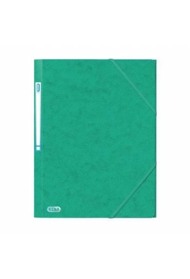 Carpeta carton A4 gomas 3 solapas verde Elba