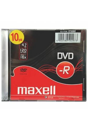 Pack 10 dvd-r 4.7 GB Maxell caja slim