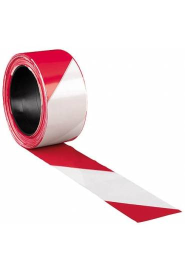 Cinta de señalización roja blanca 100m x 5cm