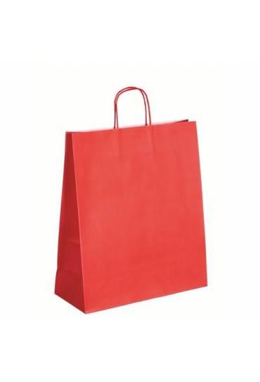 50 Bolsas de papel asas trenzadas rojo 40x35x14 cm