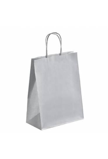 50 Bolsas papel kraft  asas trenzadas plata 30x23x