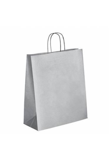 50 Bolsas papel asas trenzadas plata 40x35x14 cm