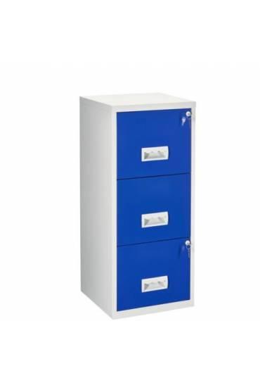 Archivador metalico Budget  3 cajones gris/azul