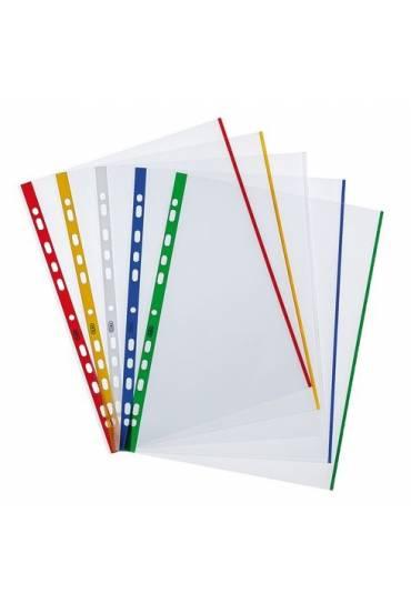 Fundas multitaladro A4 bordes colores 100 unds