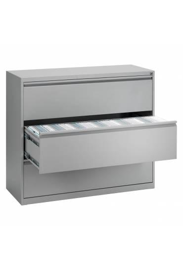 Archivador metalico maxi 120cm 3 cajones aluminio