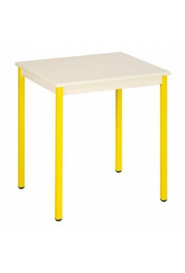 Mesa eco 70x60 beige patas amarillo