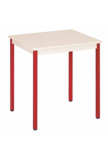 Mesa eco 70x60 beige patas rojo