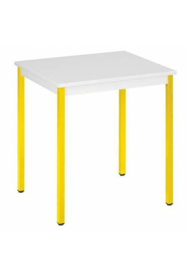 Mesa eco 70x60 gris patas amarillo