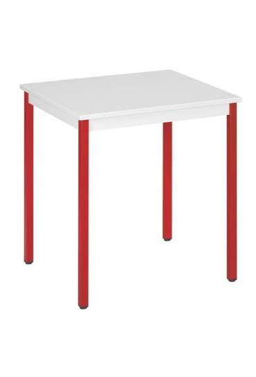 Mesa eco 70x60 gris  patas rojo