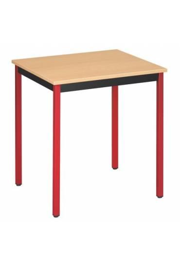 Mesa eco 70x60 haya patas rojo