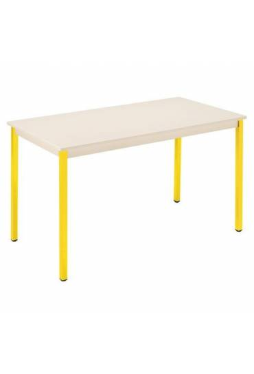 Mesa eco 120x60 beige patas amarillo