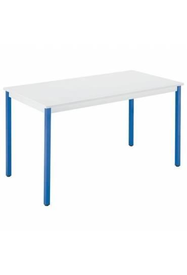 Mesa eco 120x60 gris patas azules