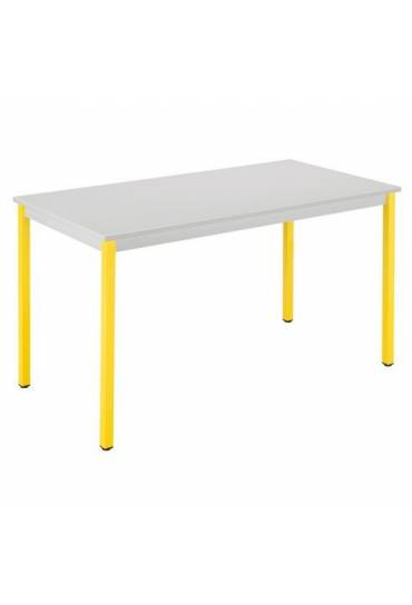 Mesa eco 120x60 gris patas amarillo