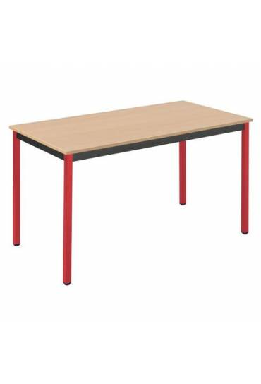 Mesa eco 120x60 haya patas rojo