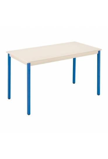 Mesa eco 140x70 beige patas azul