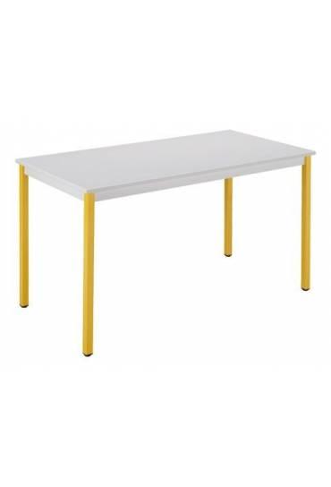 Mesa eco 140x70 gris patas amarillo