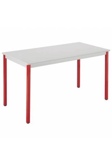 Mesa eco 140x70 gris patas rojo