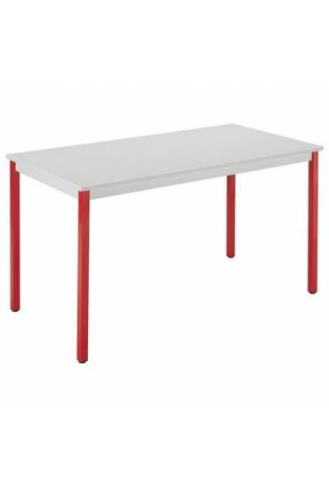 Mesa eco 160x80 gris  patas rojas