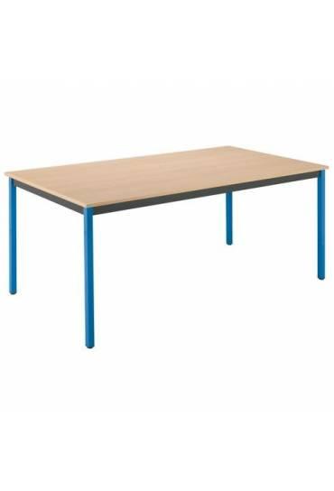 Mesa eco 160x80 haya patas azul