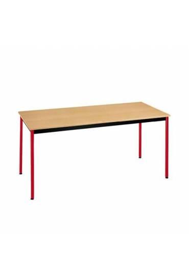 Mesa eco 160x80 haya patas rojo