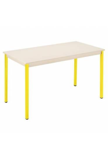 Mesa eco 180x80 beige patas amarillo