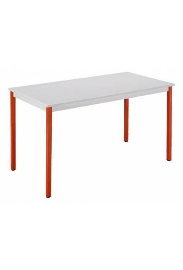 Mesa eco 180x80 gris claro patas rojo