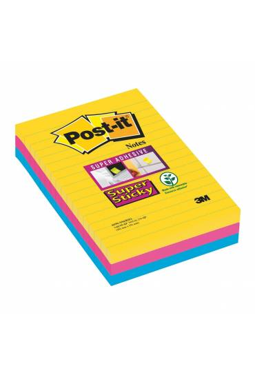 Bloc Post It Super Sticky Rio 101x152 rallados 3 u