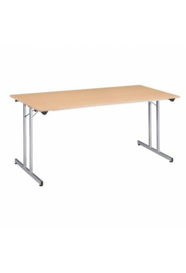 Mesa plegable multiusos 160 x 80 cm Haya patas alu