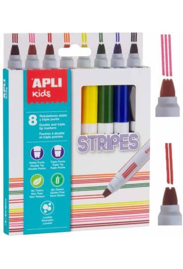 Caja 8 rotuladores doble triple punta Stripes Apli