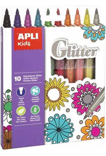 Caja 10 rotuladores Glitter Apli 18218