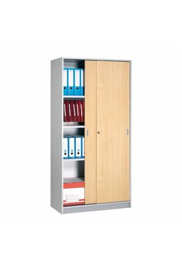 Armario madera armonia 180x90 gris puertas haya
