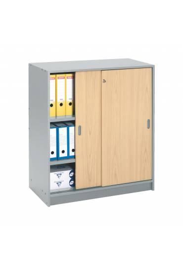 Armario madera armonia 100x90 gris puertas haya