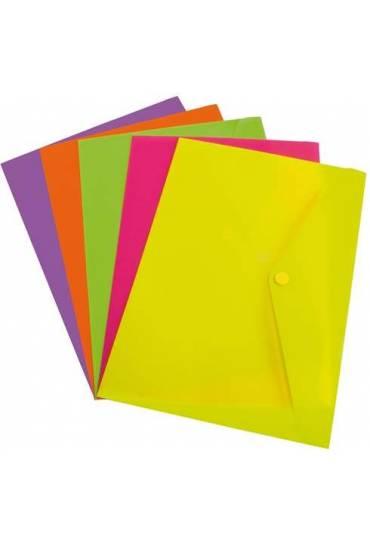 Sobres polipropileno fluor folio amarillo 12 unida