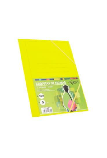 Carpeta carton folio con gomas 3 solapas colores clasicos