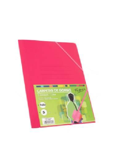 Carpeta carton folio con gomas 3 solapas colores fluor