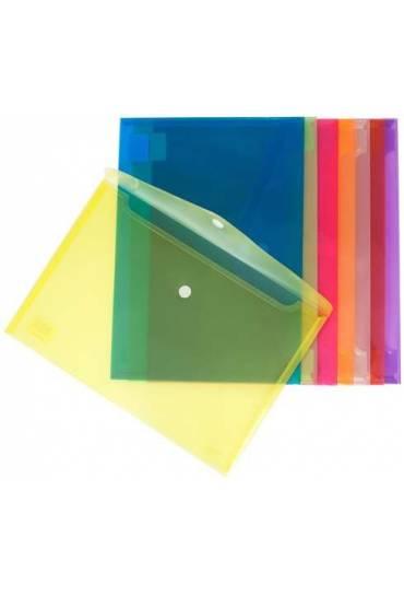 Sobres polipropileno folio velcro incoloro 12 unid