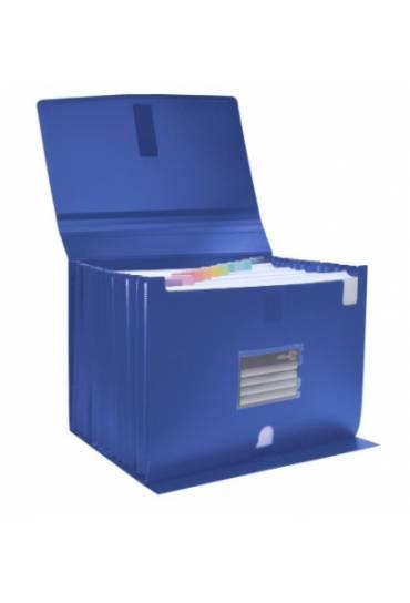 Clasificador fuelle PP cierre velcro azul Office