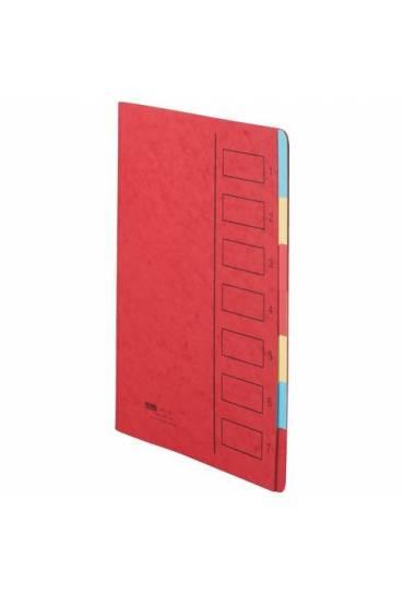 Carpeta clasificadora cartulina 7 divisiones rojo