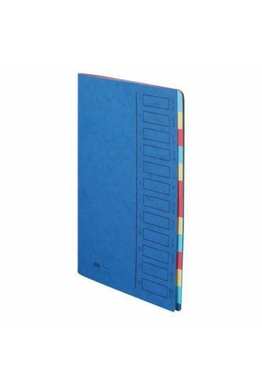 Carpeta clasificadora cartulina 12 divisiones azul
