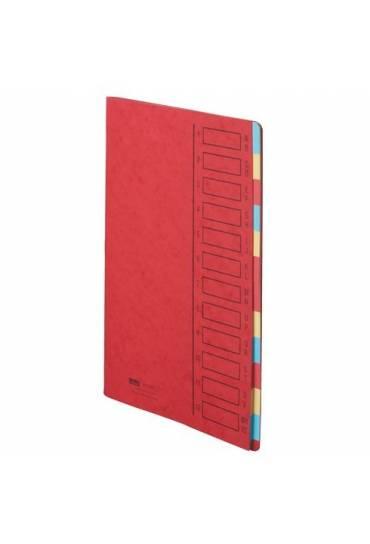 Carpeta clasificadora cartulina 12 divisiones roja