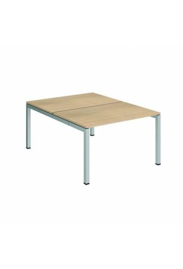 Conjunto 2 mesas rectas 120 roble aluminio arko