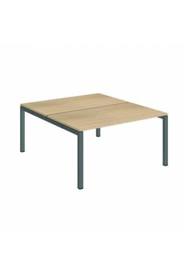 Conjunto 2 mesas rectas 140 roble antracita arko